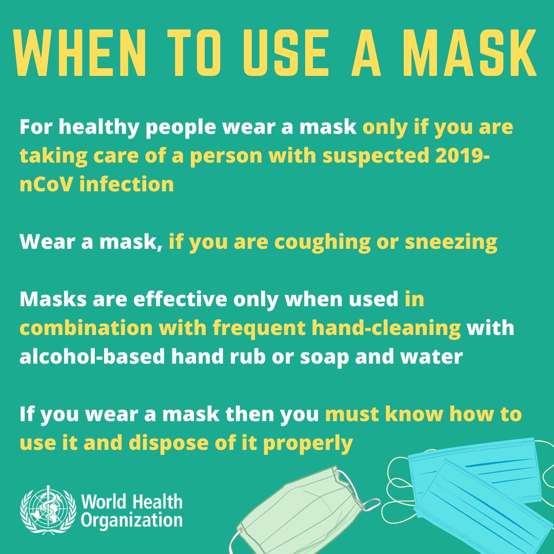 Världshälsoorganisationen (WHO) har riktlinjer för när man ska använda munskydd.