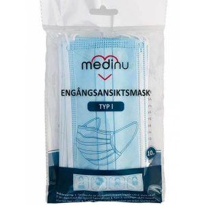 Engångsansiktsmask Medinu 10 st