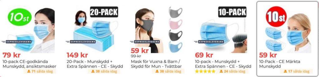 Stort utbud av munskydd i papper eller tyg, även återanvändbara